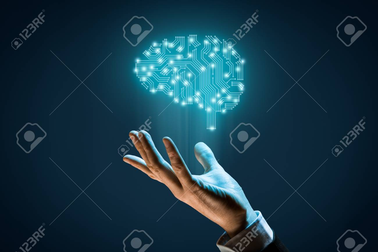 Brain with printed circuit board (PCB) design and businessman representing artificial intelligence (AI), data mining, machine and deep learning and another modern computer technologies concepts. - 92136226