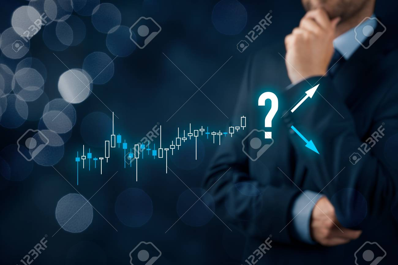 Investor and trader concept. Investor with tradeview graph make decision - sell or buy? - 93195974