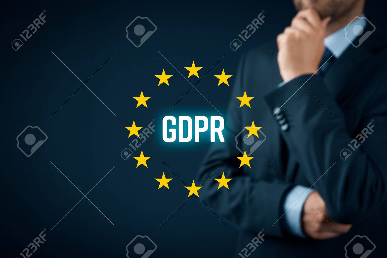 GDPR (general data protection regulation) concept. Businessman or IT technologist think about GDPR implementation for his company. - 95436122