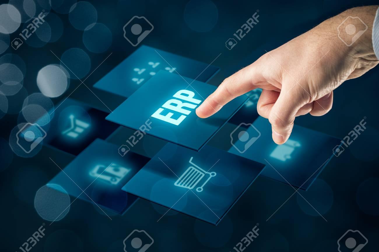 Enterprise resource planning ERP concept  Businessman click on