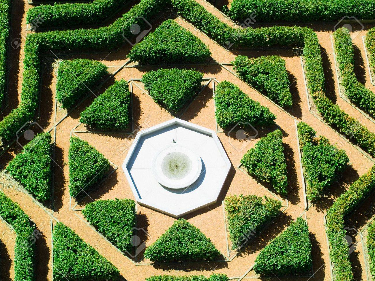 Hedges Gardens With Fountain, Aerial View Stock Photo, Picture And on