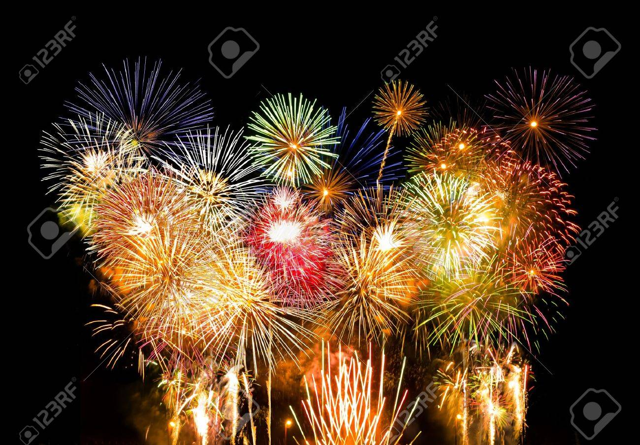 many colorful fireworks exploding simultaneously Stock Photo - 12889278