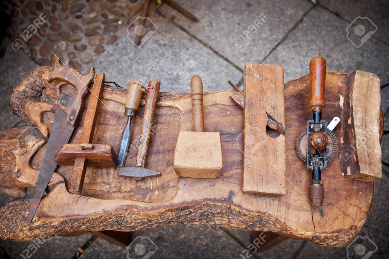 vintage carpenter tools on a rustic table Stock Photo - 13059965