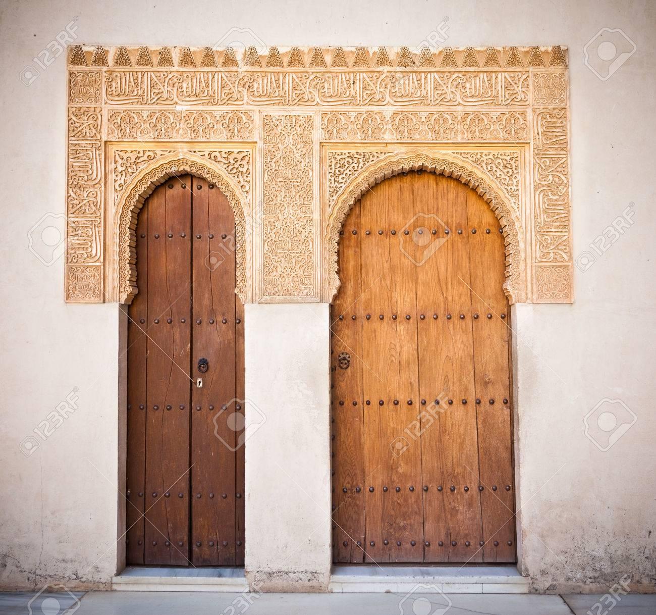 Alhambra de Granada Moorish ornate doors in the Court of the Mirtles Patio de Arrayanes Stock & Alhambra De Granada Moorish Ornate Doors In The Court Of The.. Stock ...