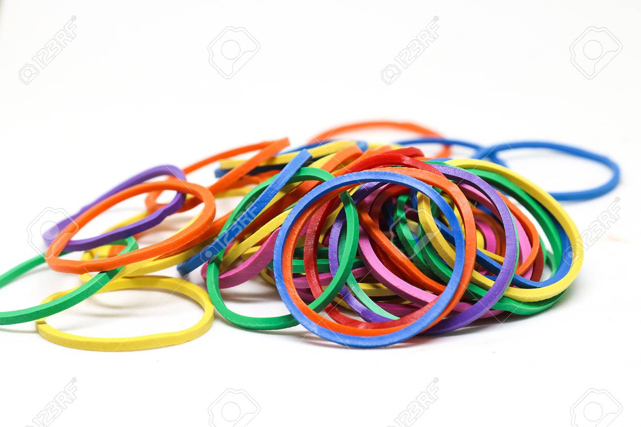 Rubber bands isolated on white background  Elastic bands or gum