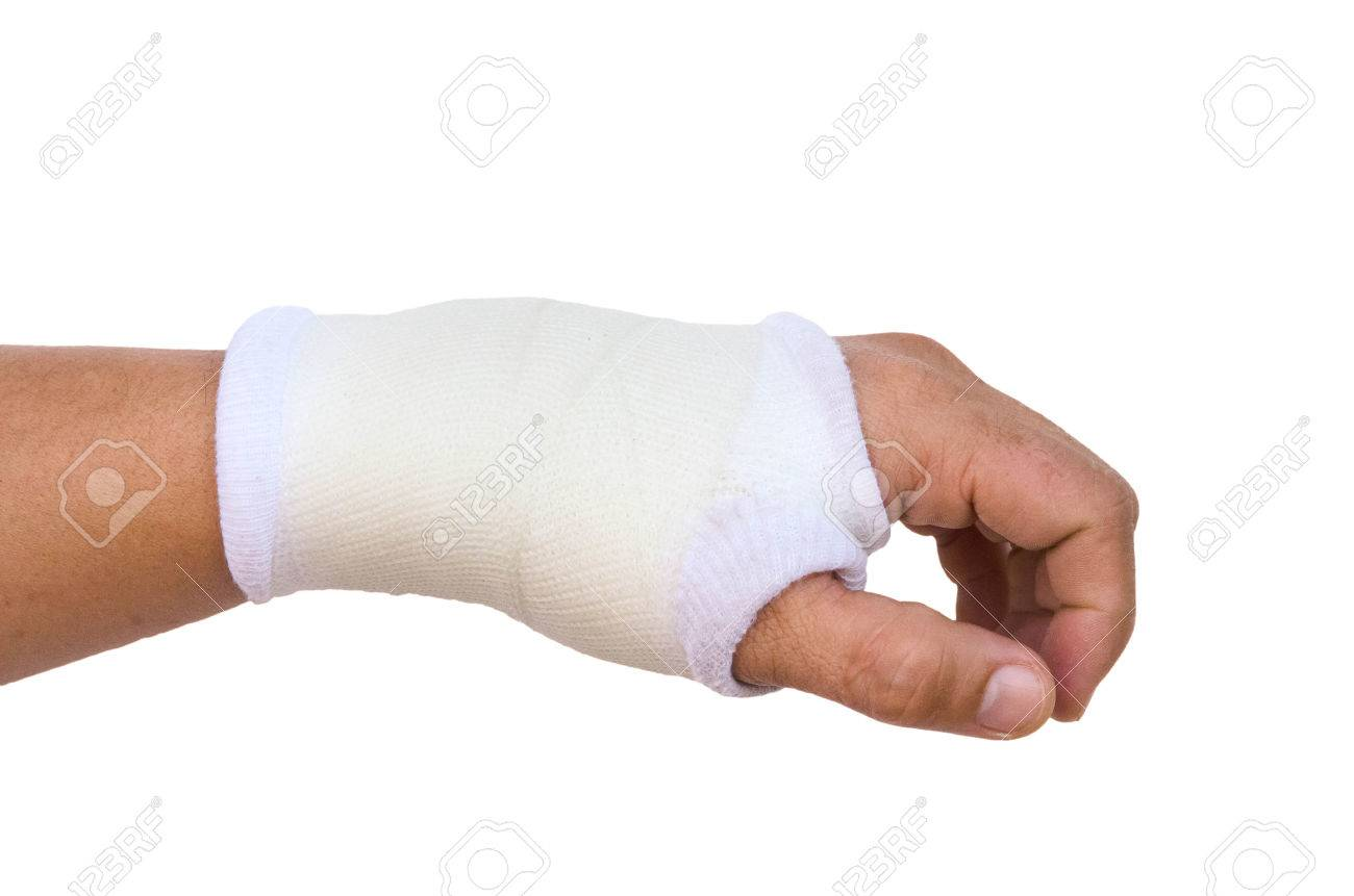 Close-up hand splint for broken bone treatment isolated on white background Stock Photo - 24874635