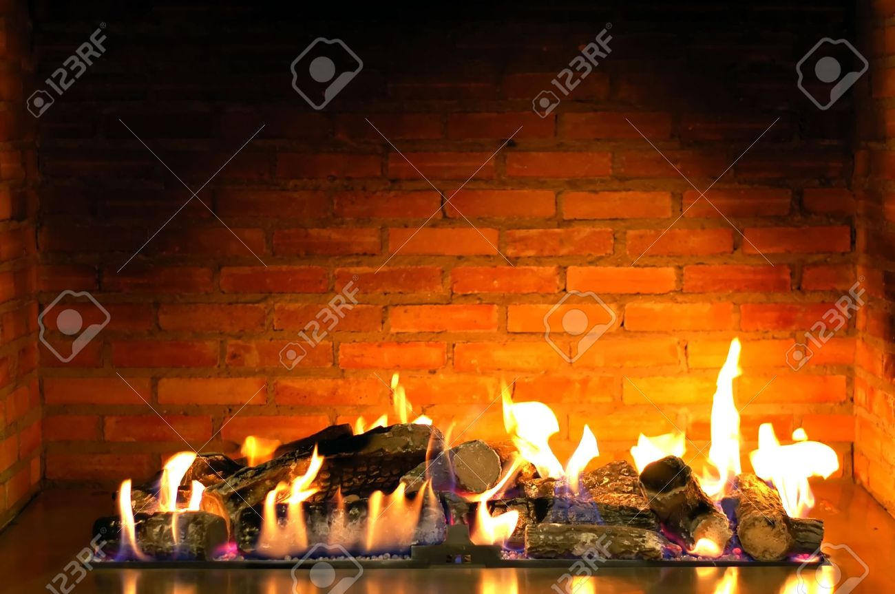 Beautiful Cozy Fireplace Lit By The Fire Stock Photo, Picture And ...