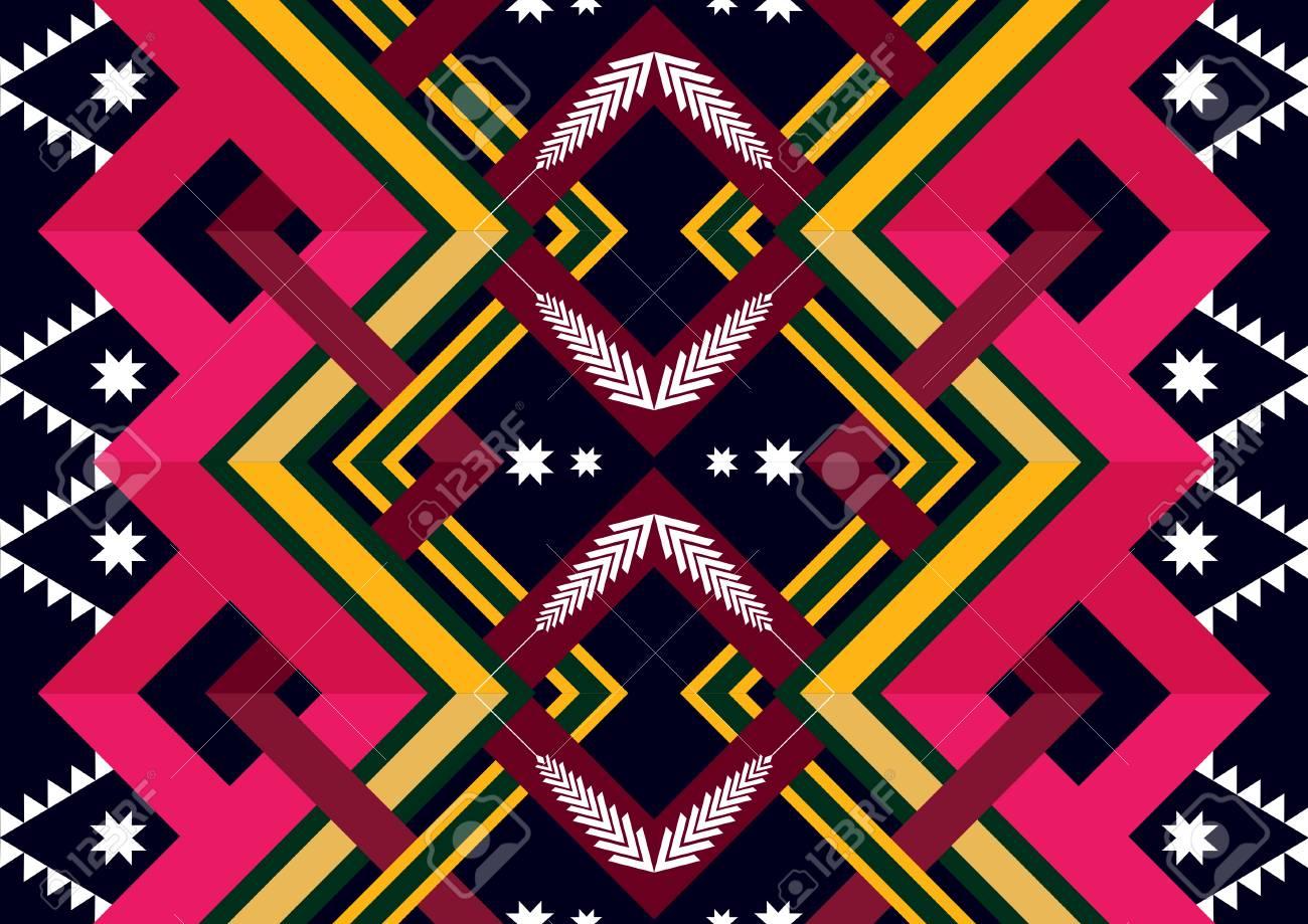 エスニック幾何学模様 背景の壁紙 服のパターンと折り返しデザイン
