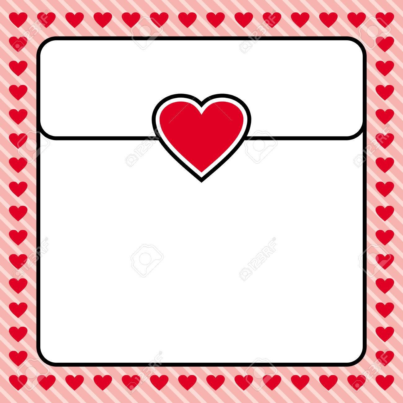 red heart border frame vector design for valentines day love letter love card