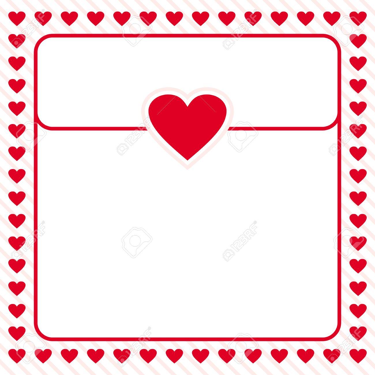 Rotes Herz Grenze Rahmen Vektor-Design Für Valentinstag, Liebesbrief ...