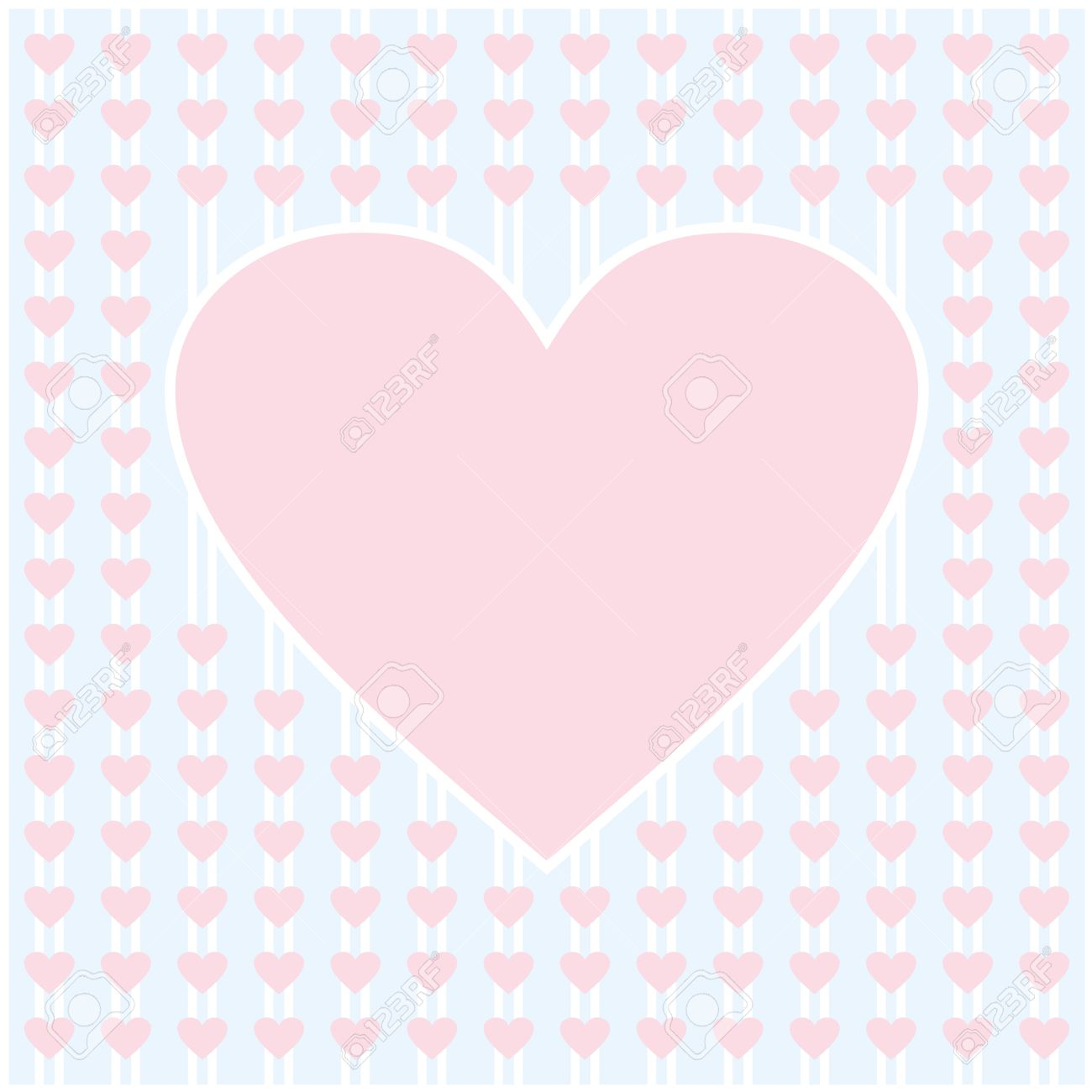 Pink Heart Border Frame Vector Blue Background Design For Valentines Day Love Card And Wedding