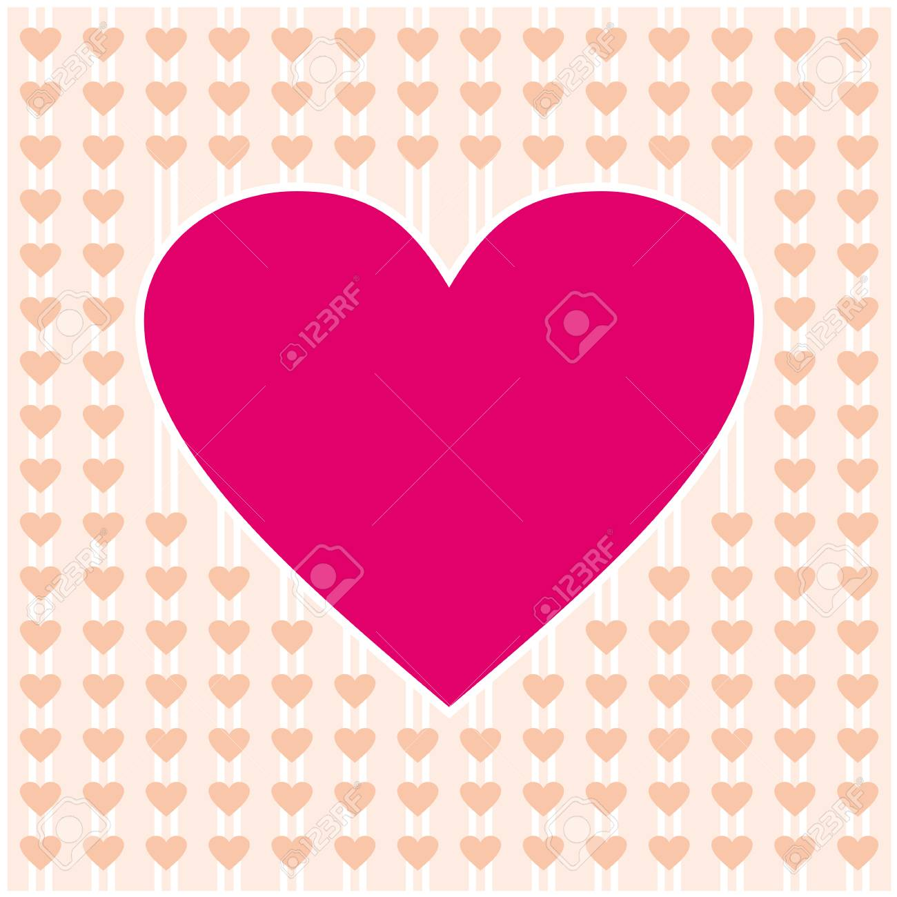 Pink Heart Border Frame Vector Design For Valentines Day Love Card And Wedding Stock