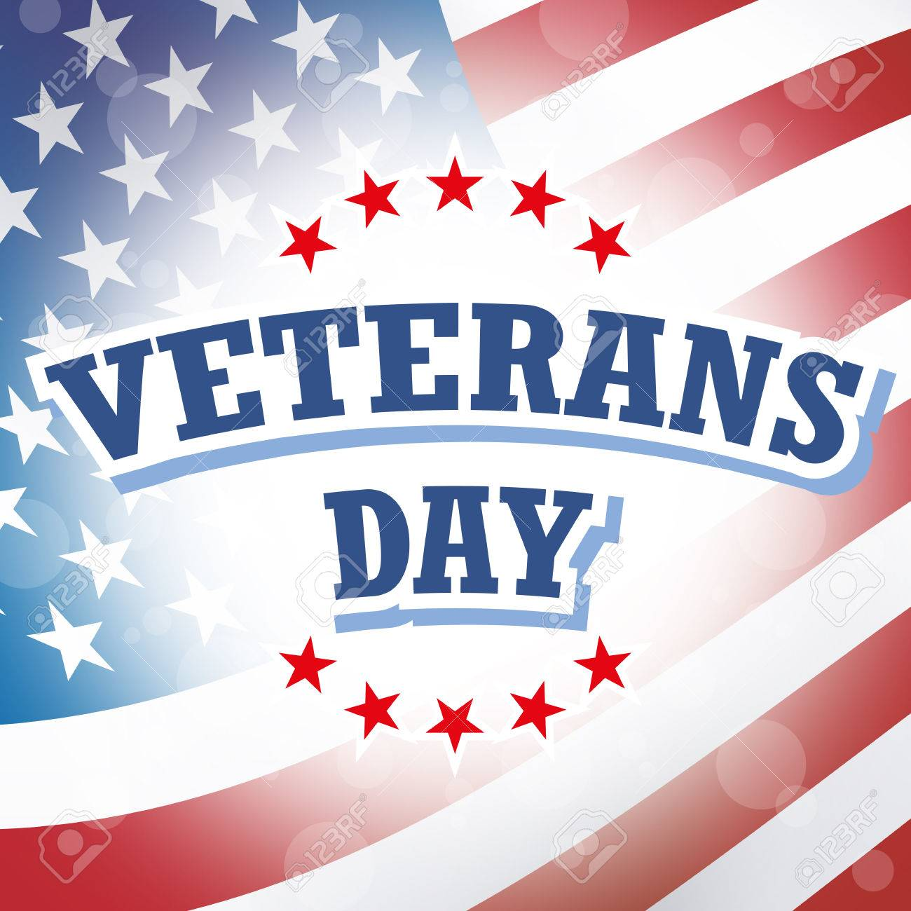 Veterans Day Card American Flag Background Stock Photo Picture And