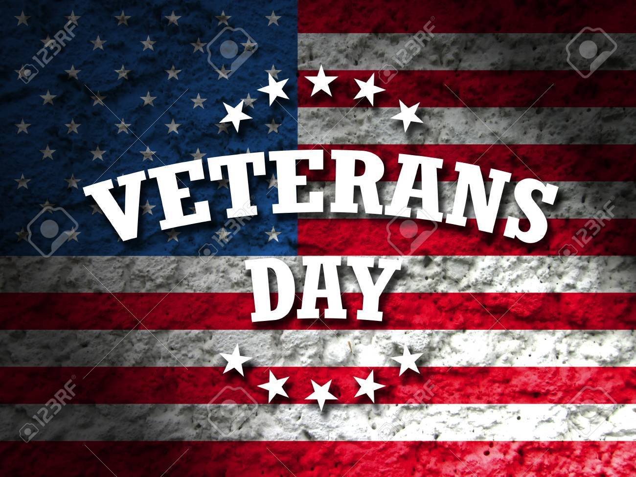 Veterans Day Card American Flag Grunge Background Stock Photo