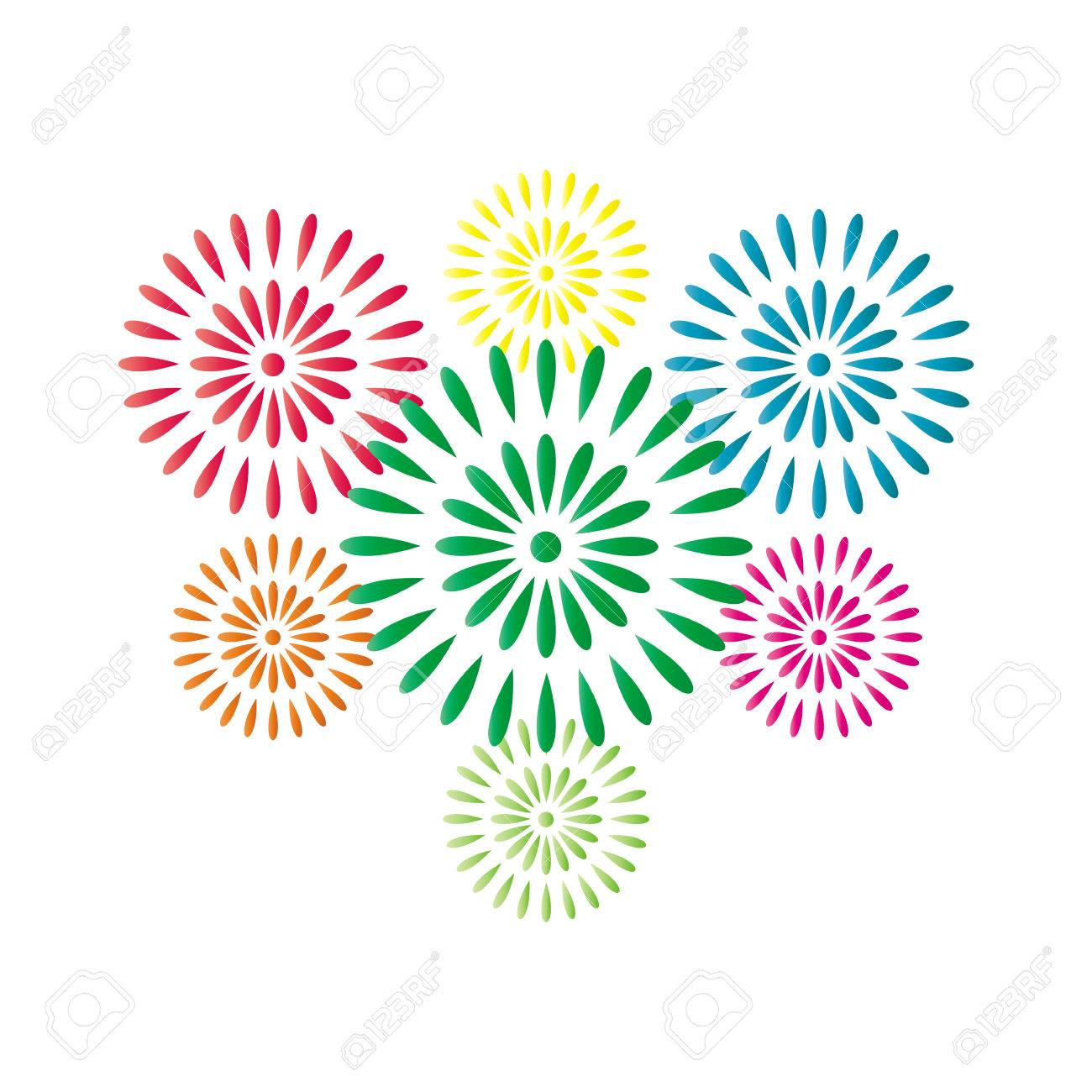 fireworks colorful isolated on white background beautiful design for new year anniversary celebration and