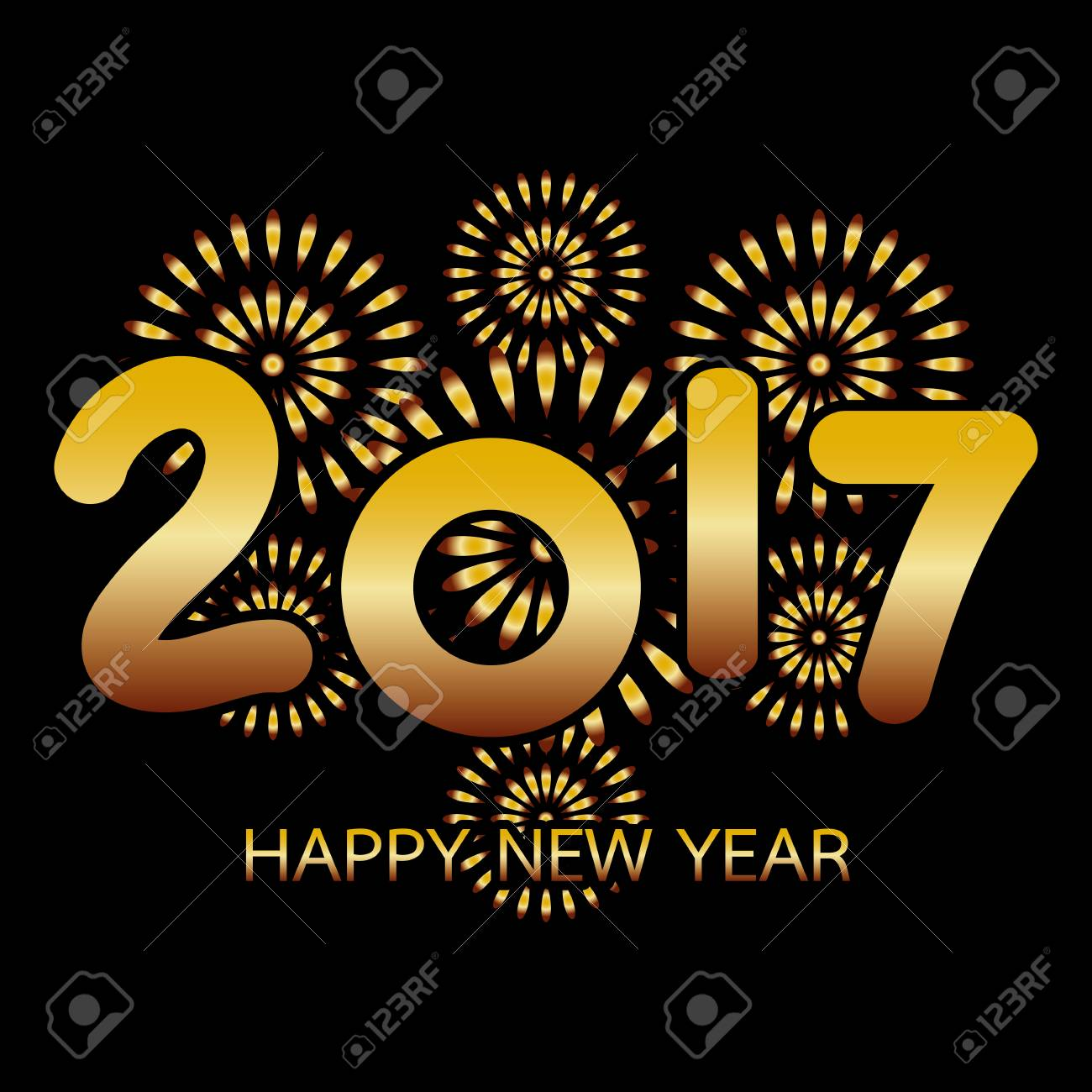 2017 happy new year banner with fireworks gold celebration on black background stock vector 67500374