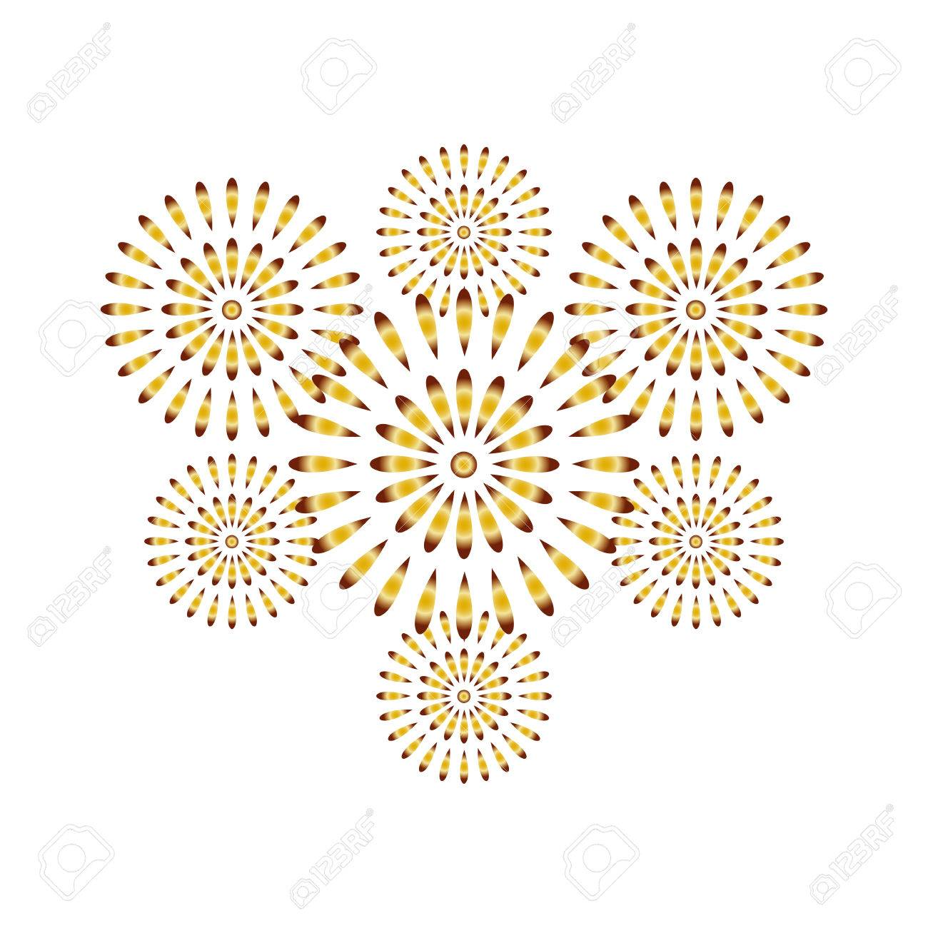 fireworks gold isolated on white background beautiful design for new year anniversary celebration and