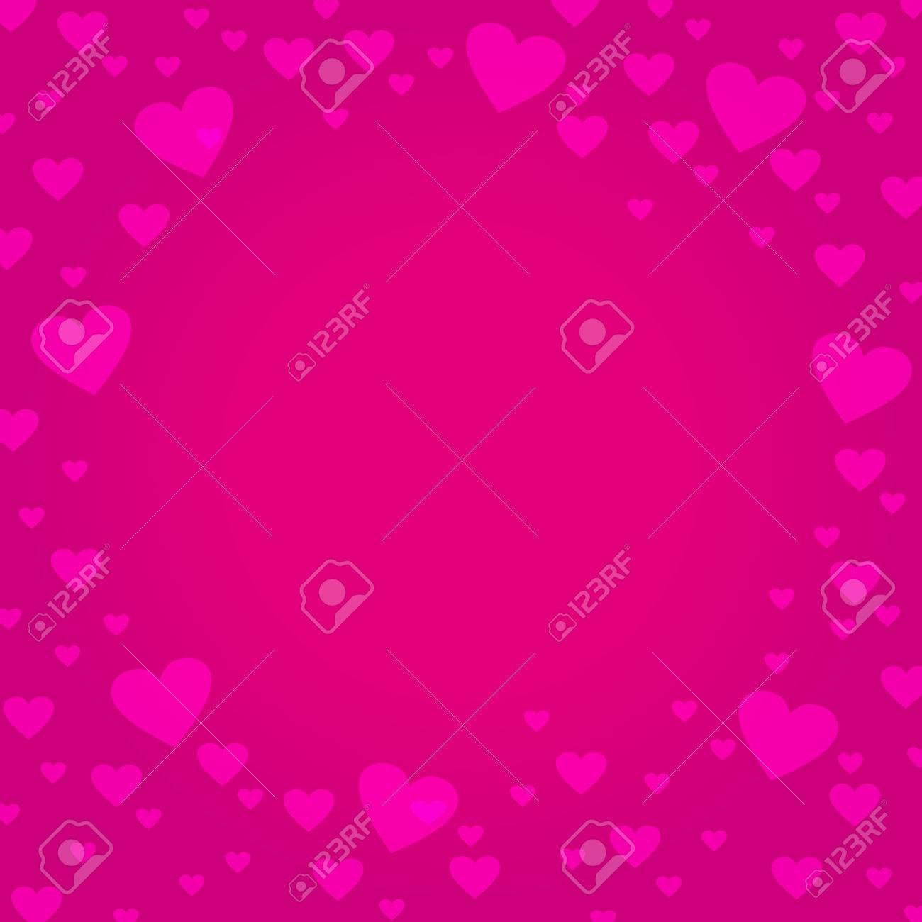 Frontera Del Marco En Forma De Corazón De Color Rosa Sobre Fondo De ...