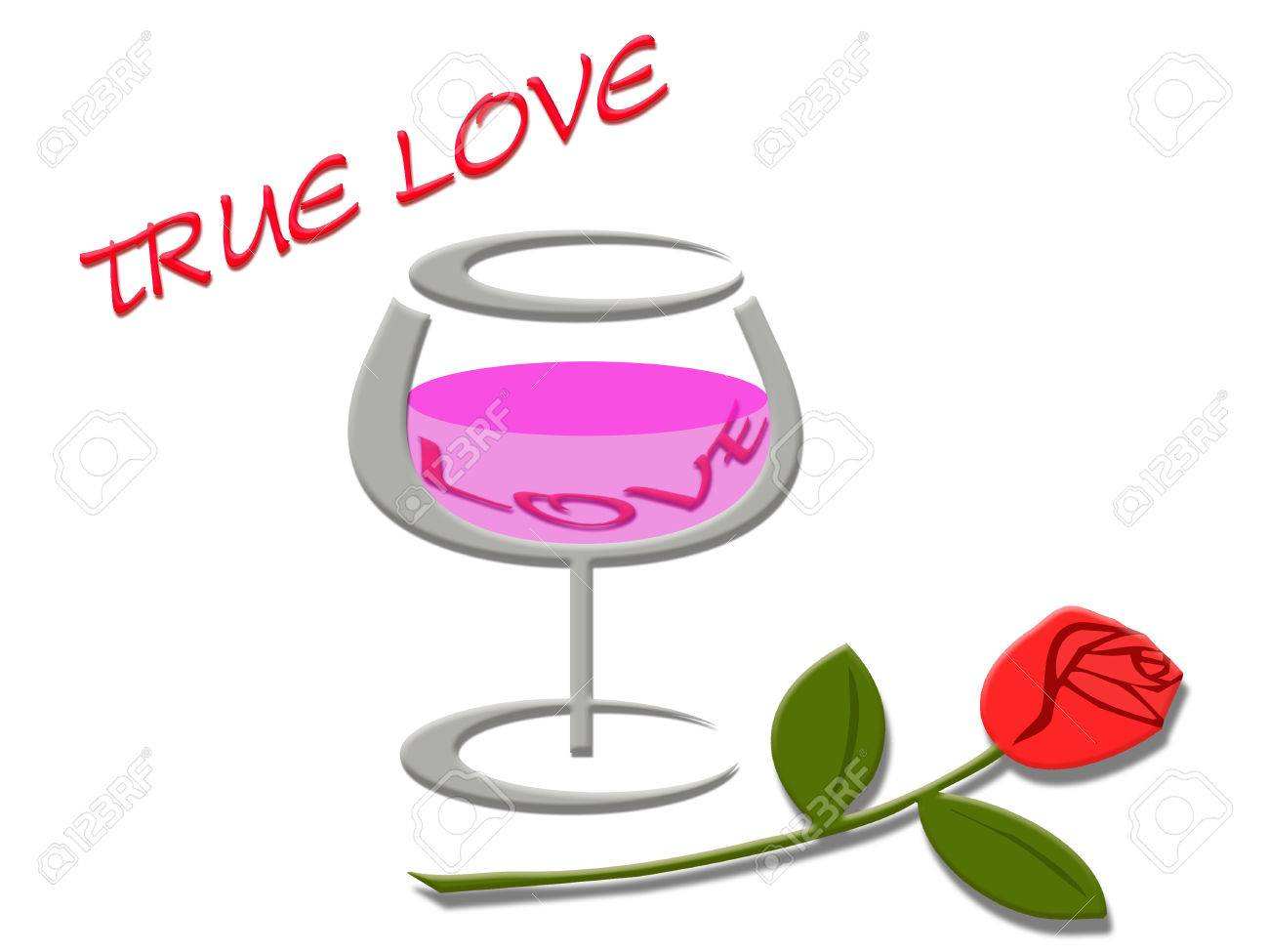 Love Word In Wine Gland Rose Flower With True Love Message Background Stock Photo