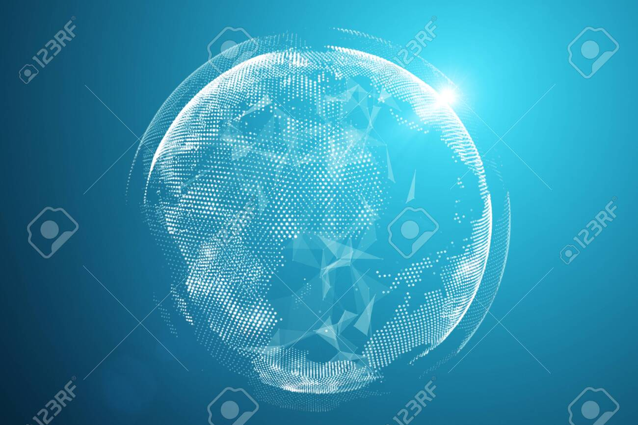 World map point, line, composition, representing the global, Global network connection,international meaning, technology concept. 3D rendering - Illustration - 124246025