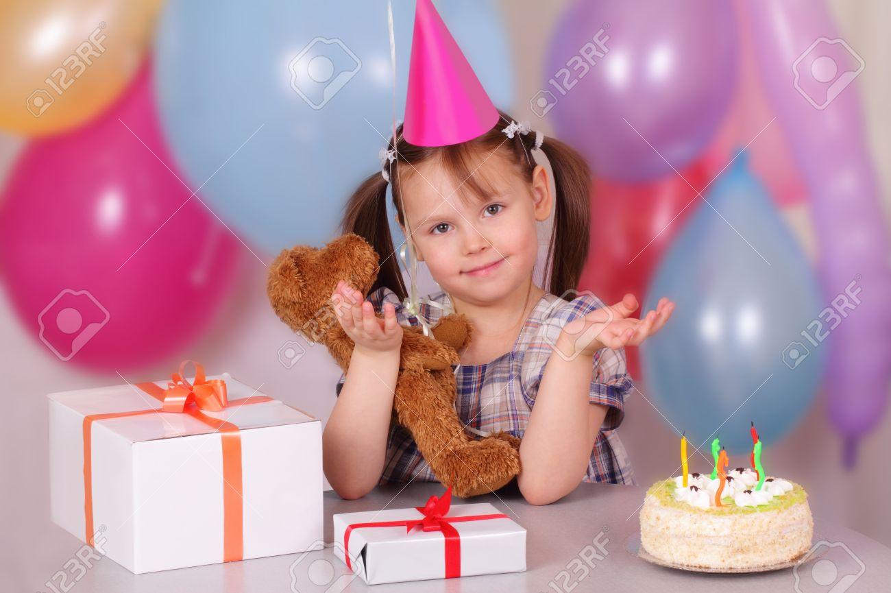 Funny little girl on her Birthday Stock Photo - 12952735