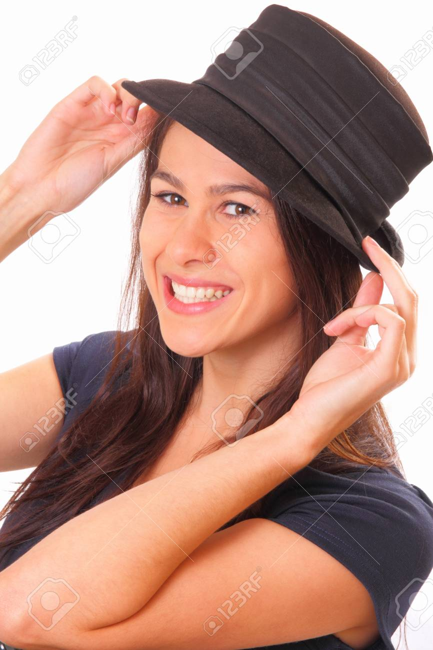 Smiling young brunette woman in a hat Stock Photo - 16405533