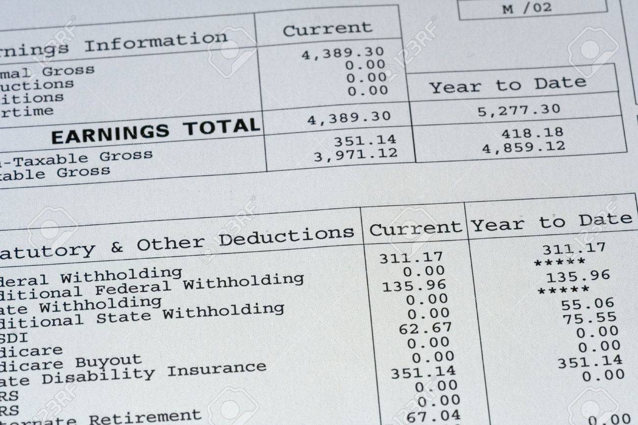 up close of paystub Stock Photo - 611065