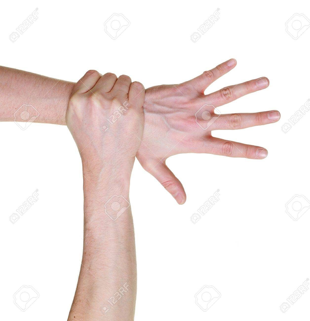 hand caught and grabbed over wrist isolated on white background - 4413147