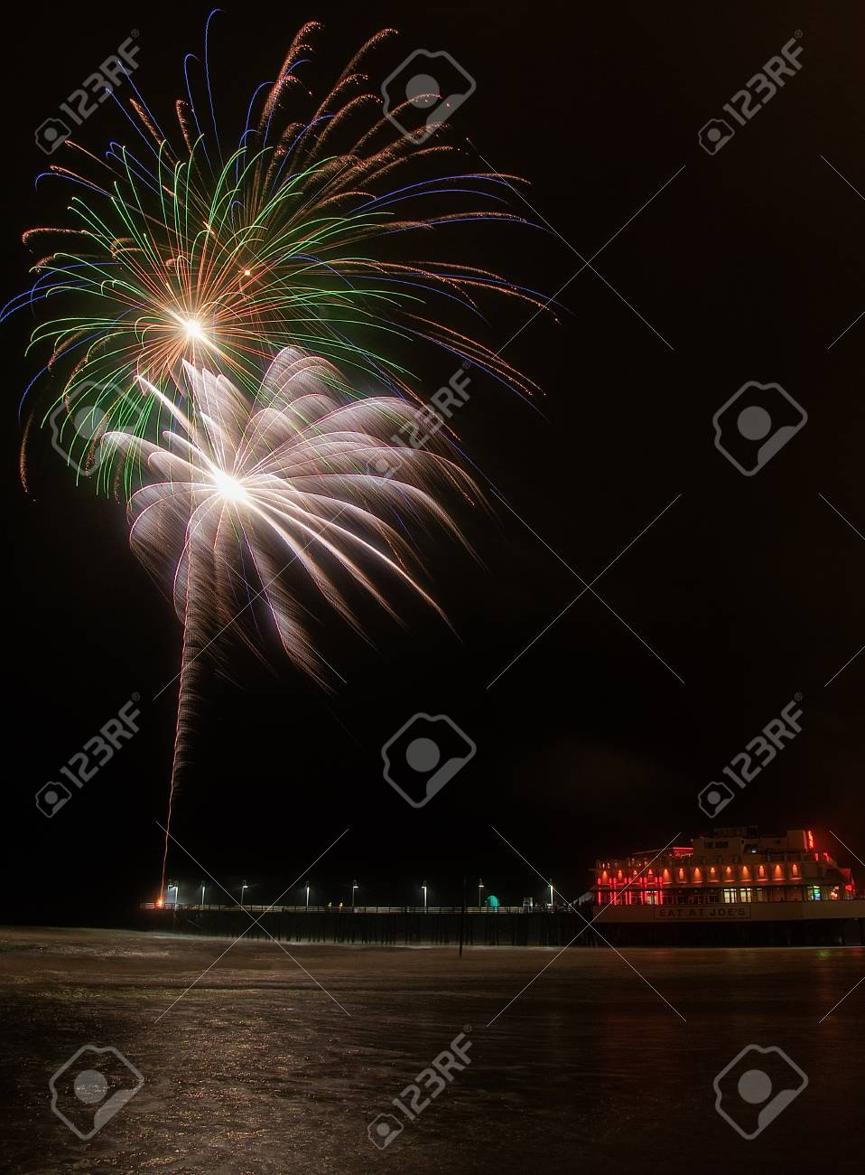 Fireworks Being Shot From The Pier At Daytona Beach In Florida Stock Photo Picture And Royalty Free Image Image 100642342