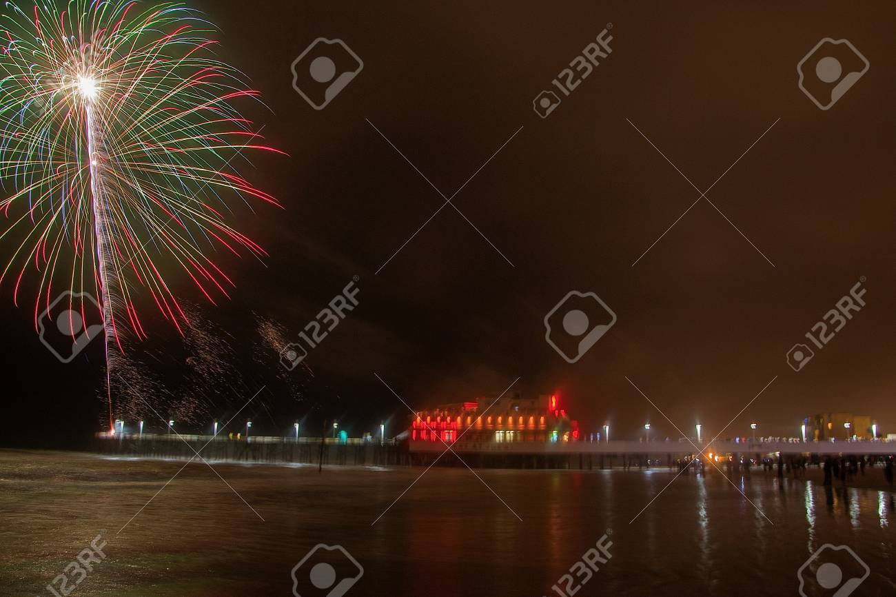 Fireworks Being Shot From The Pier At Daytona Beach In Florida Stock Photo Picture And Royalty Free Image Image 100702905