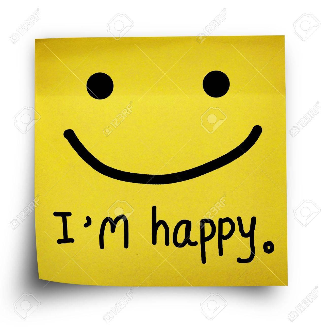 Ich Bin Glücklich Hinweis Auf Gelben Aufkleber Papier Hinweis