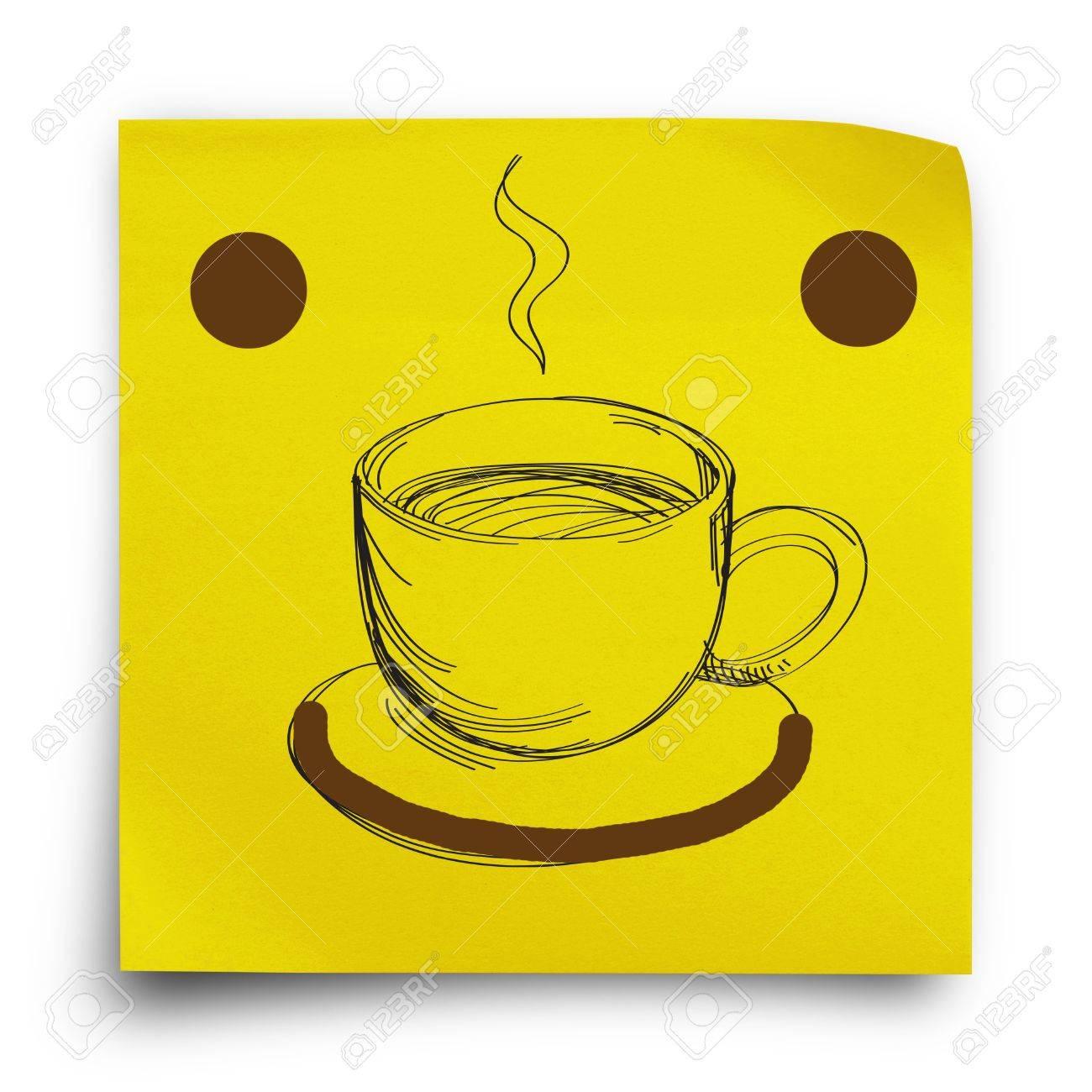 Immagini Stock Giallo Adesivo Nota Carta Con Smiley E Il Disegno