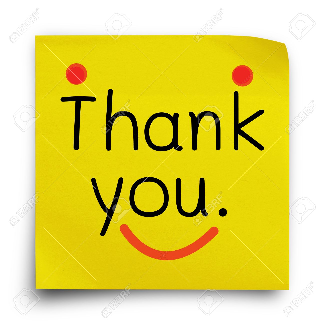 smiley face thank you images stock pictures royalty smiley smiley face thank you thank you word on yellow sticker paper note on white background