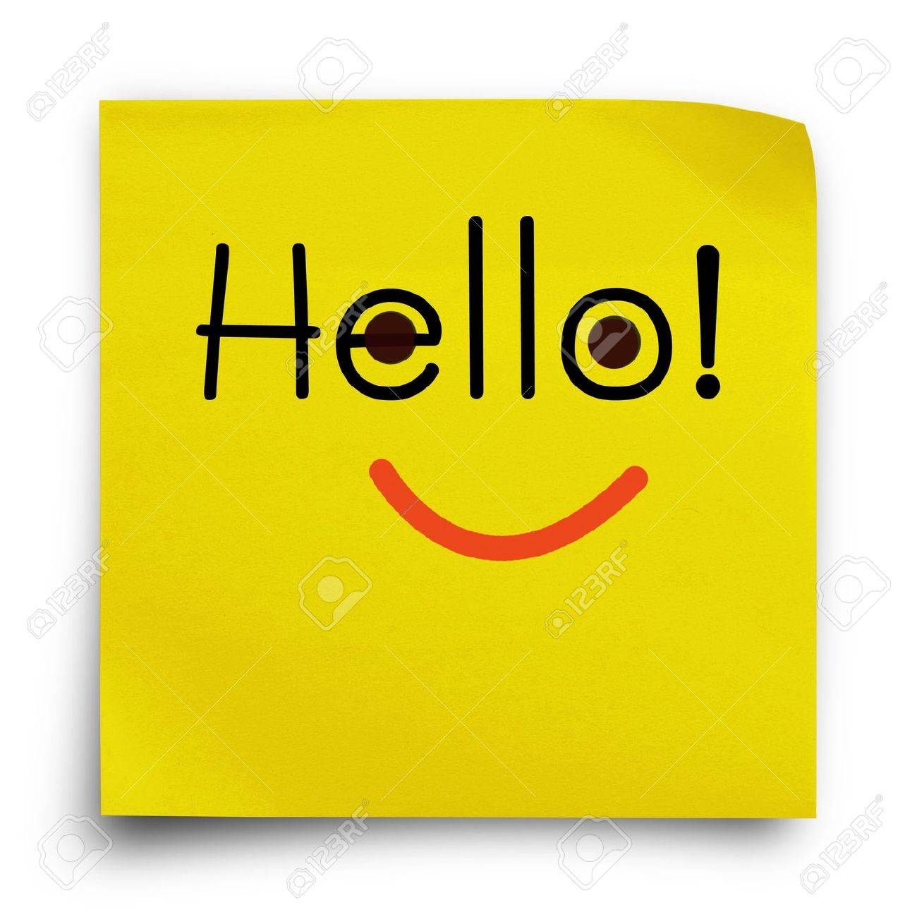 Hello word with smiley face on yellow sticker paper note