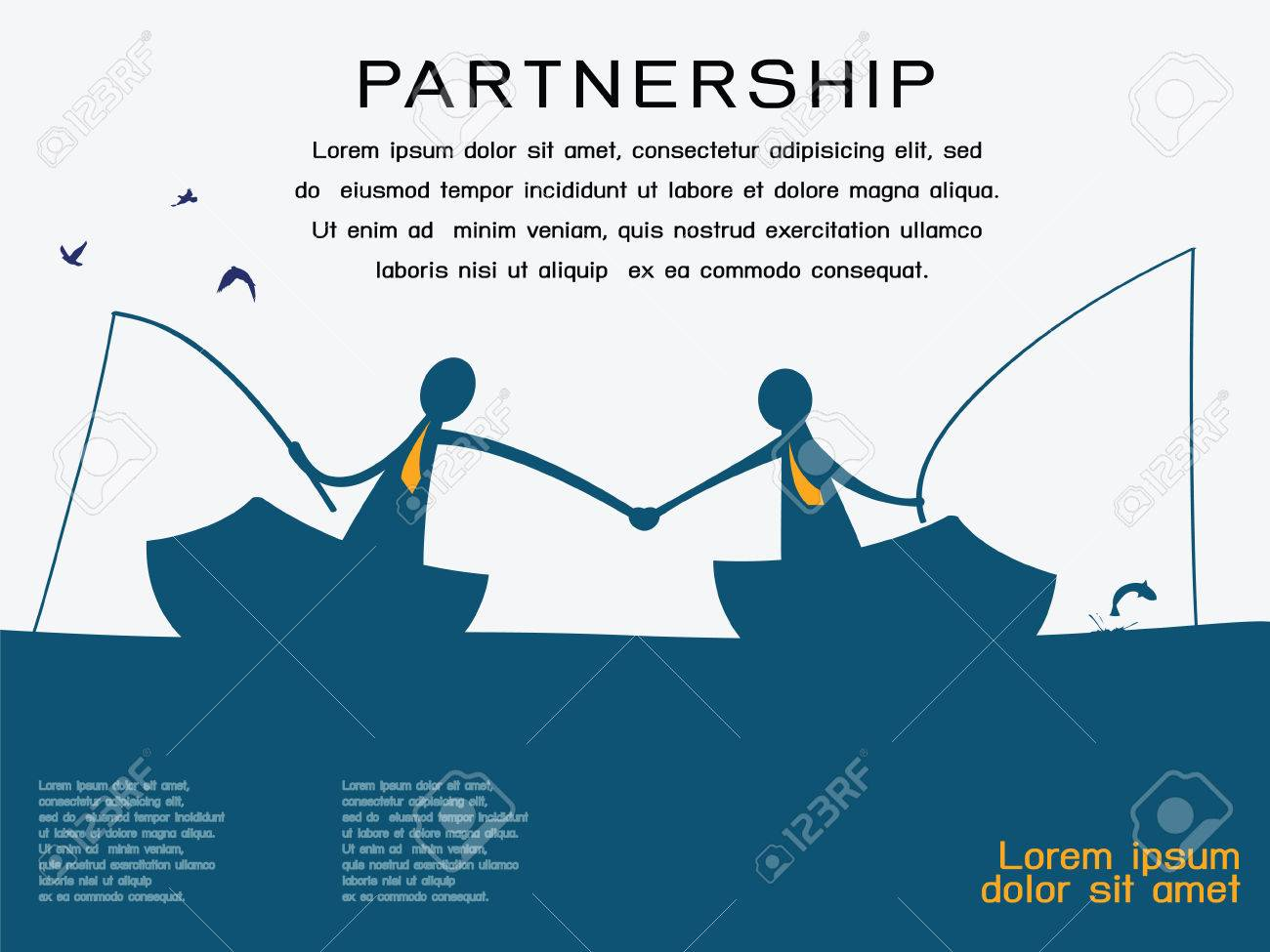 Business man on going fishing on the boat and shaking hands to each other in partnership and corporation concept  Abstract background with copy space and text for your own design Stock Vector - 24678892