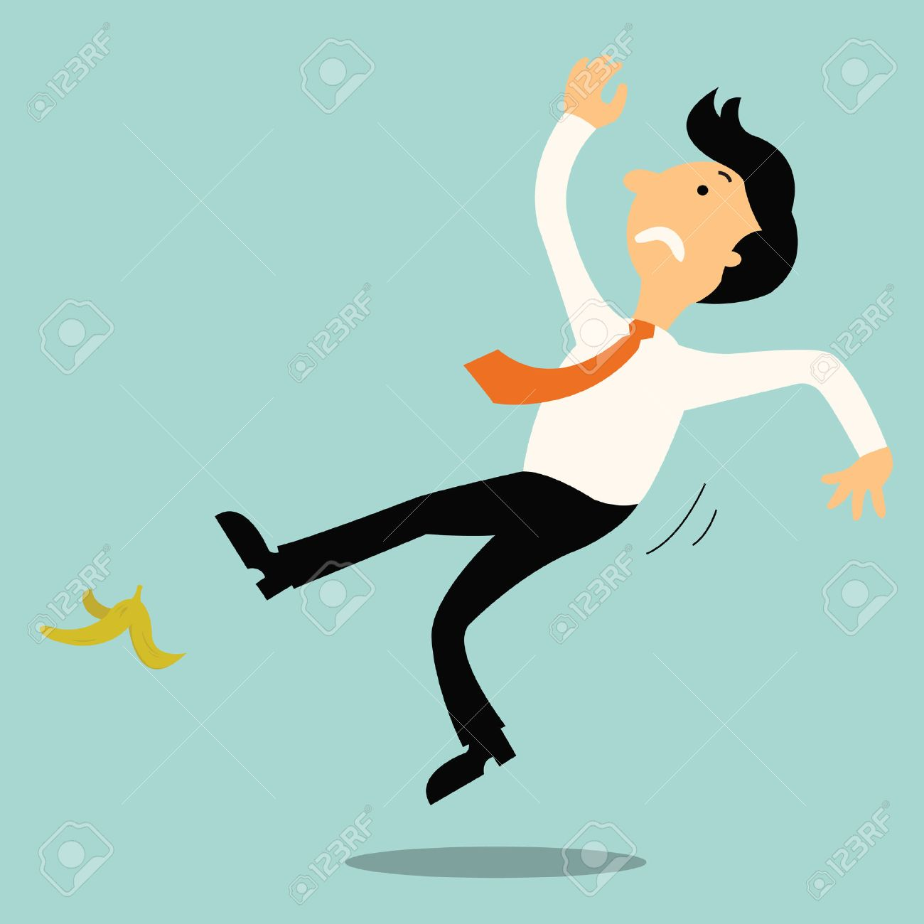 Young businessman slip on banana peel and falling down. - 27674000