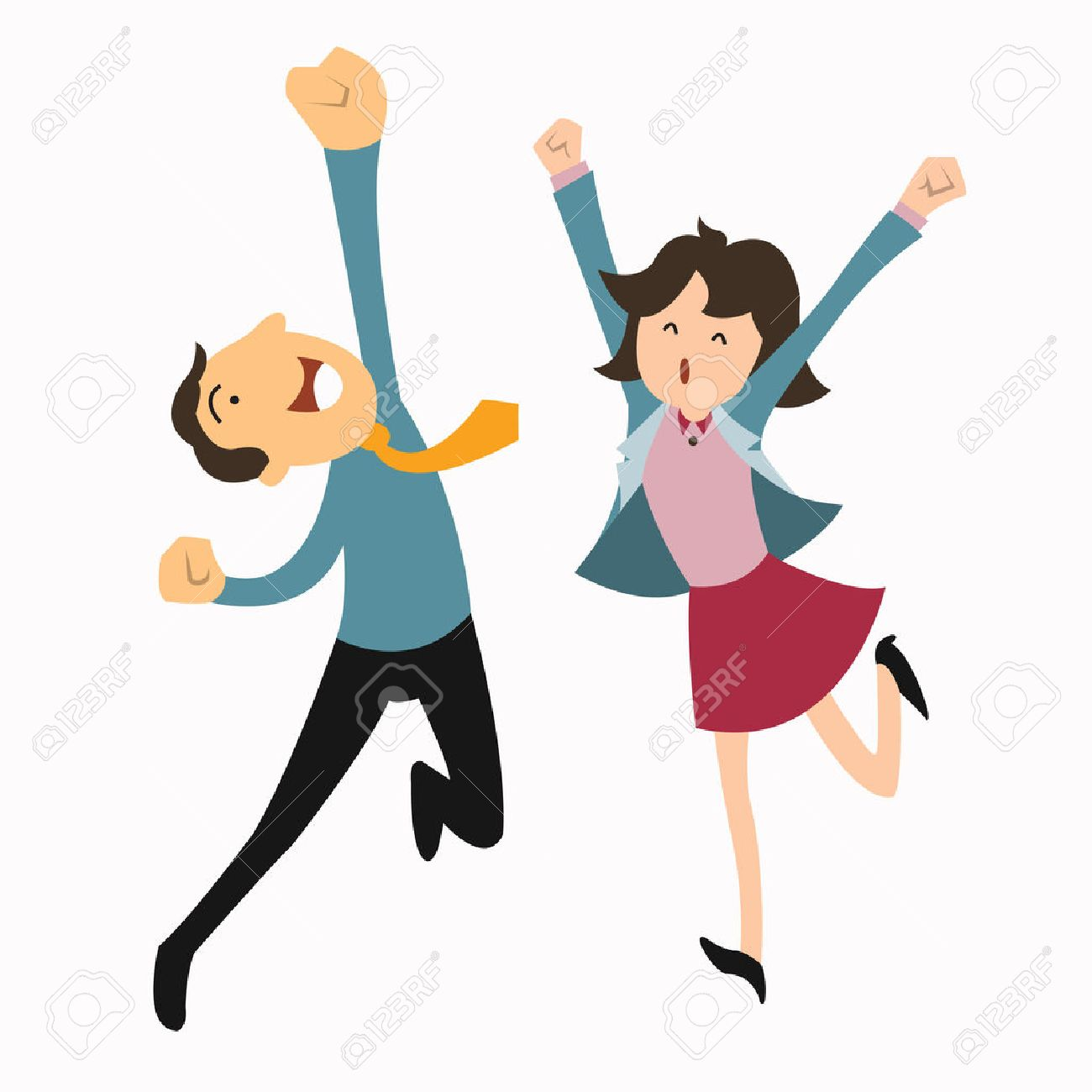 Happy business man and woman jumping in the air cheerfully Feeling and emotion concept - 28875460