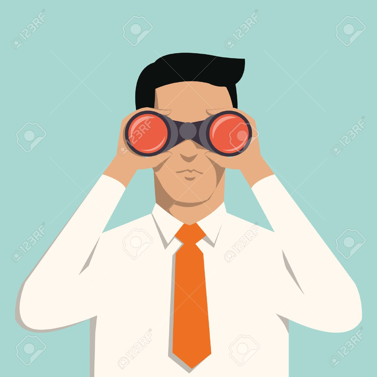 Young handsome businessman with binoculars Business concept in vision and leadership - 28875484