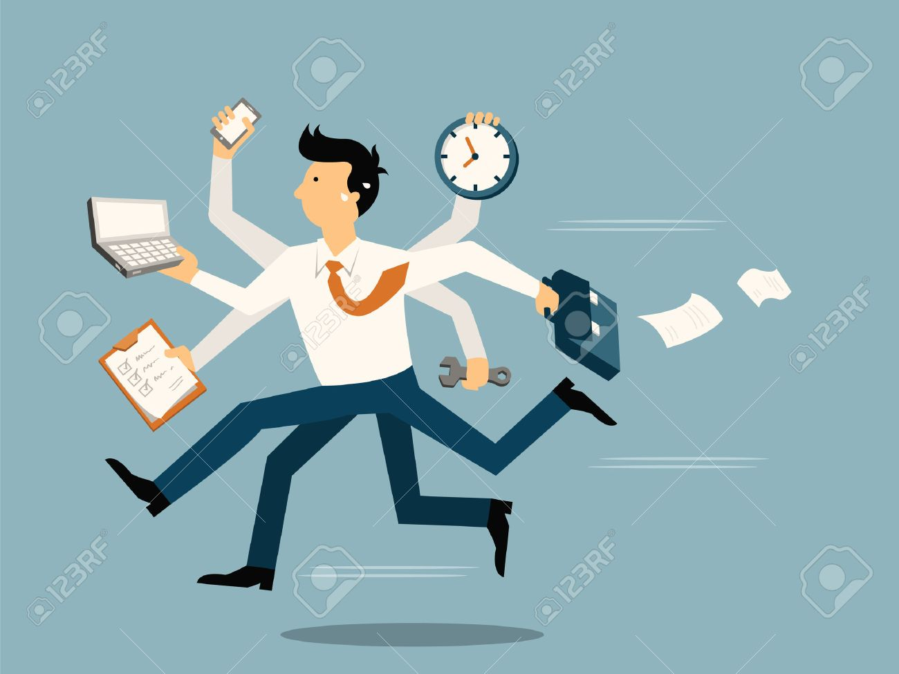 Businessman running in a hurry with many hands holding time, smart phone, laptop, wrench, papernote and briefcase, business concept in very busy or a lot of work to do. - 29115156
