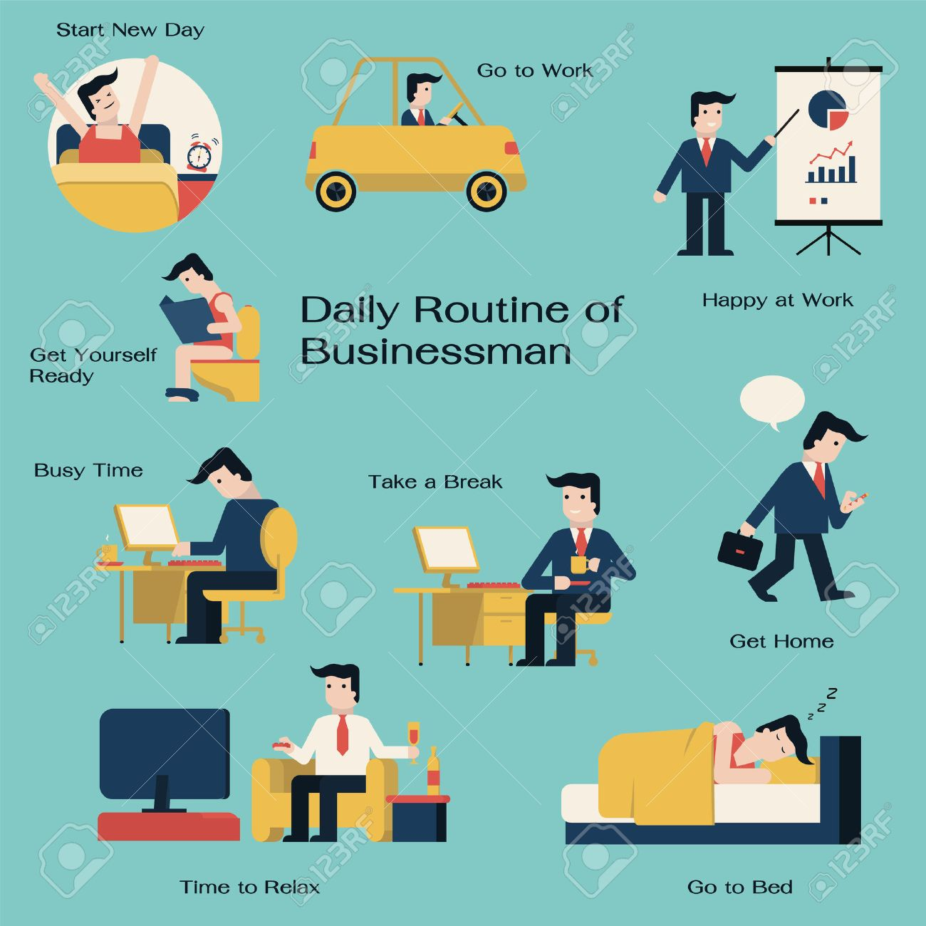 businessman in daily routine get up drive to work working