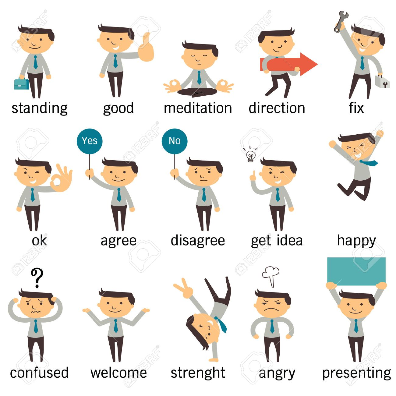 Set of businessman character or office person in various poses, expressing feeling and emotional concept, isolated on white. - 32051714