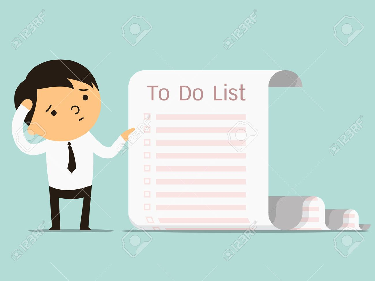 Businessman confused with long paper note with to do list, business concept in a lot of things to do. You can write your text or design in copy space. - 32359420