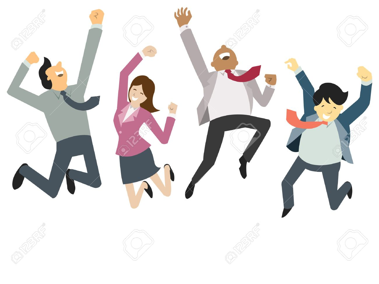 Happy and successful businesspeople, jumping in the air, business concept in teamwork and corporation. Stock Vector - 32359484