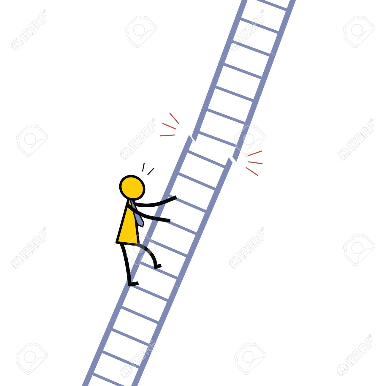 businessman climbing up the ladder and out the ladder businessman climbing up the ladder and out the ladder immediately being broken metaphor to