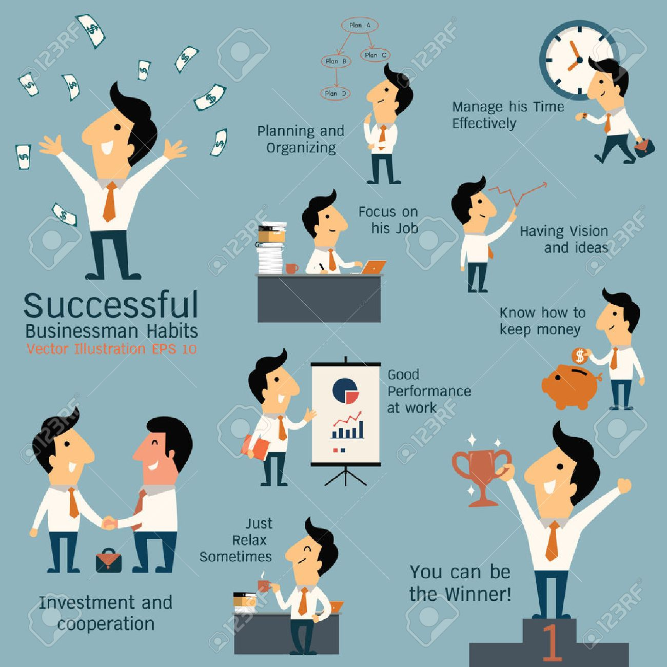Set of successful businessman habits, various poses and many gestures. Cute character businessman with flat design style. - 34185701