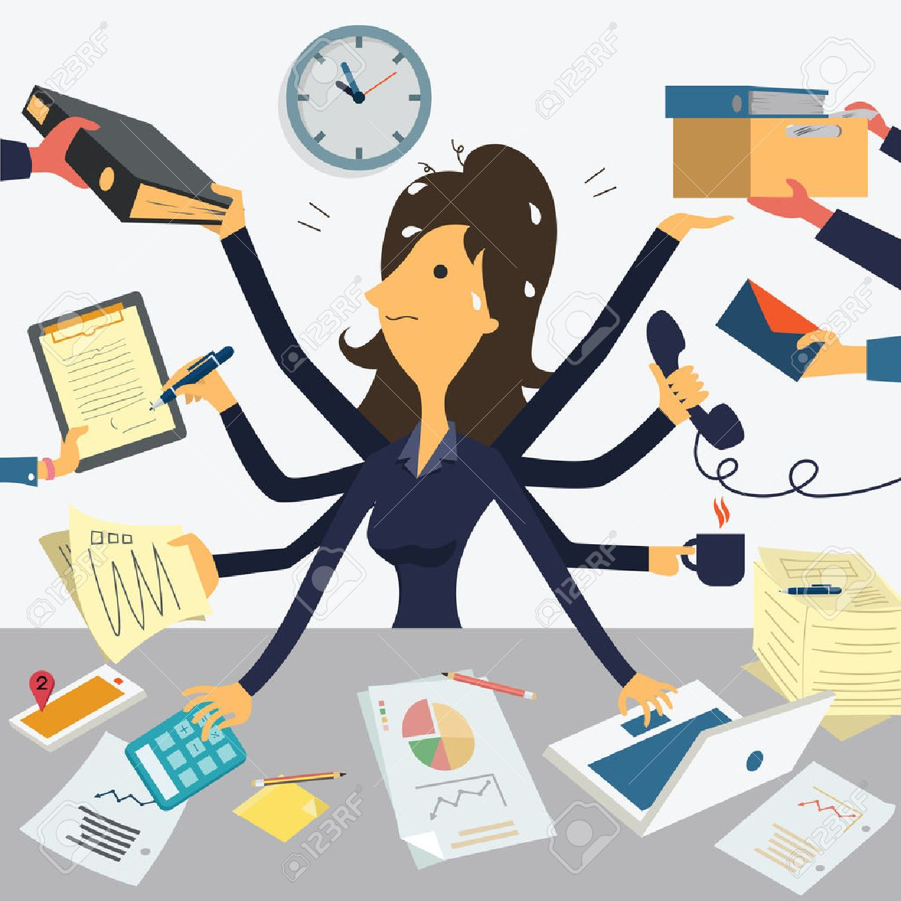 Businesswoman working with eight hands, representing to very busy business concept. - 34660152