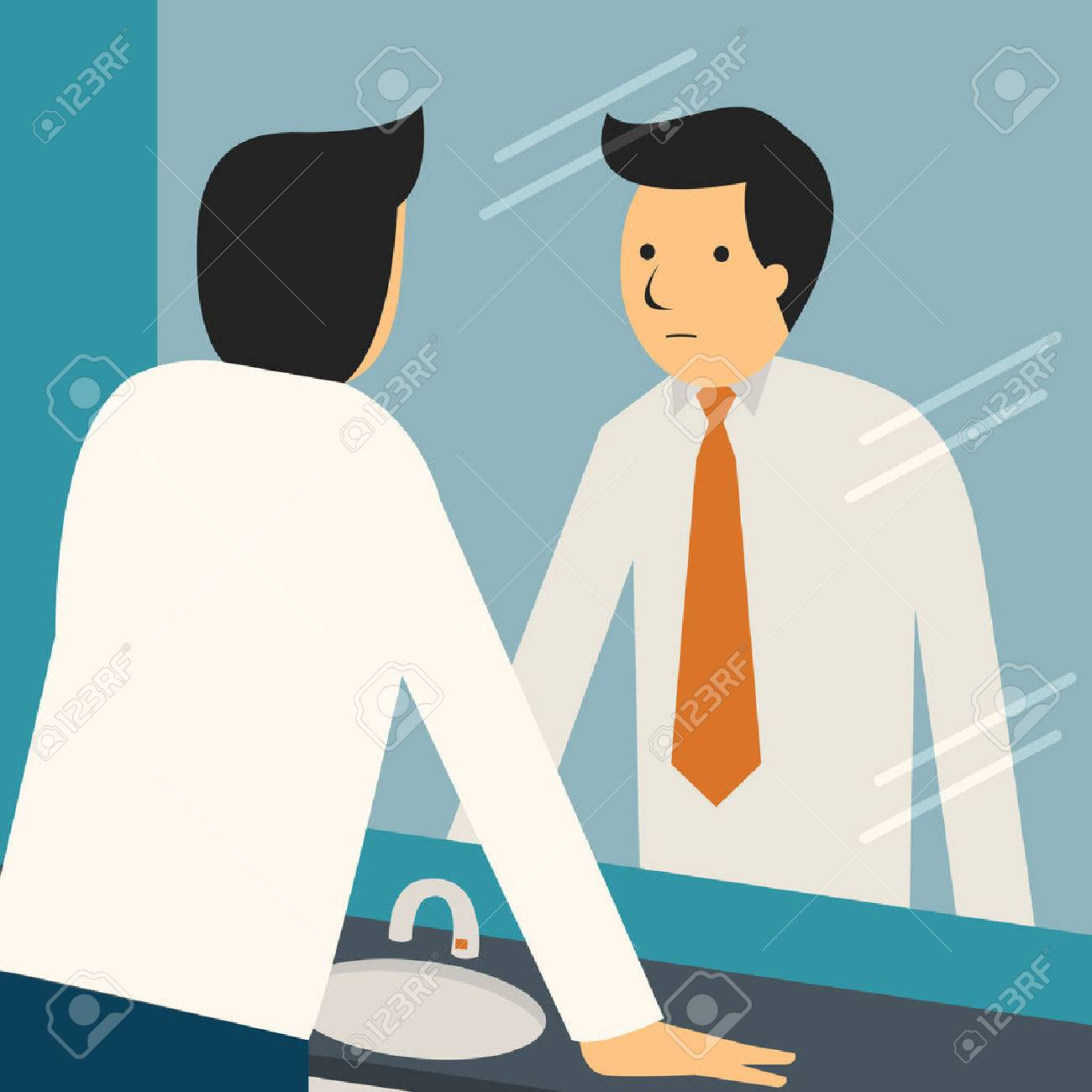 Businessman looking at himself in mirror to encourage and find himself confident. - 36130694