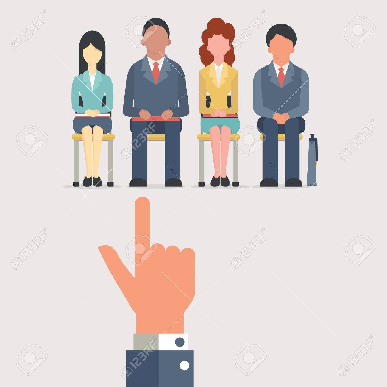 Hand pointing to business people who sitting on chair waiting for job interview, recruitment concept. Flat design. - 41438345