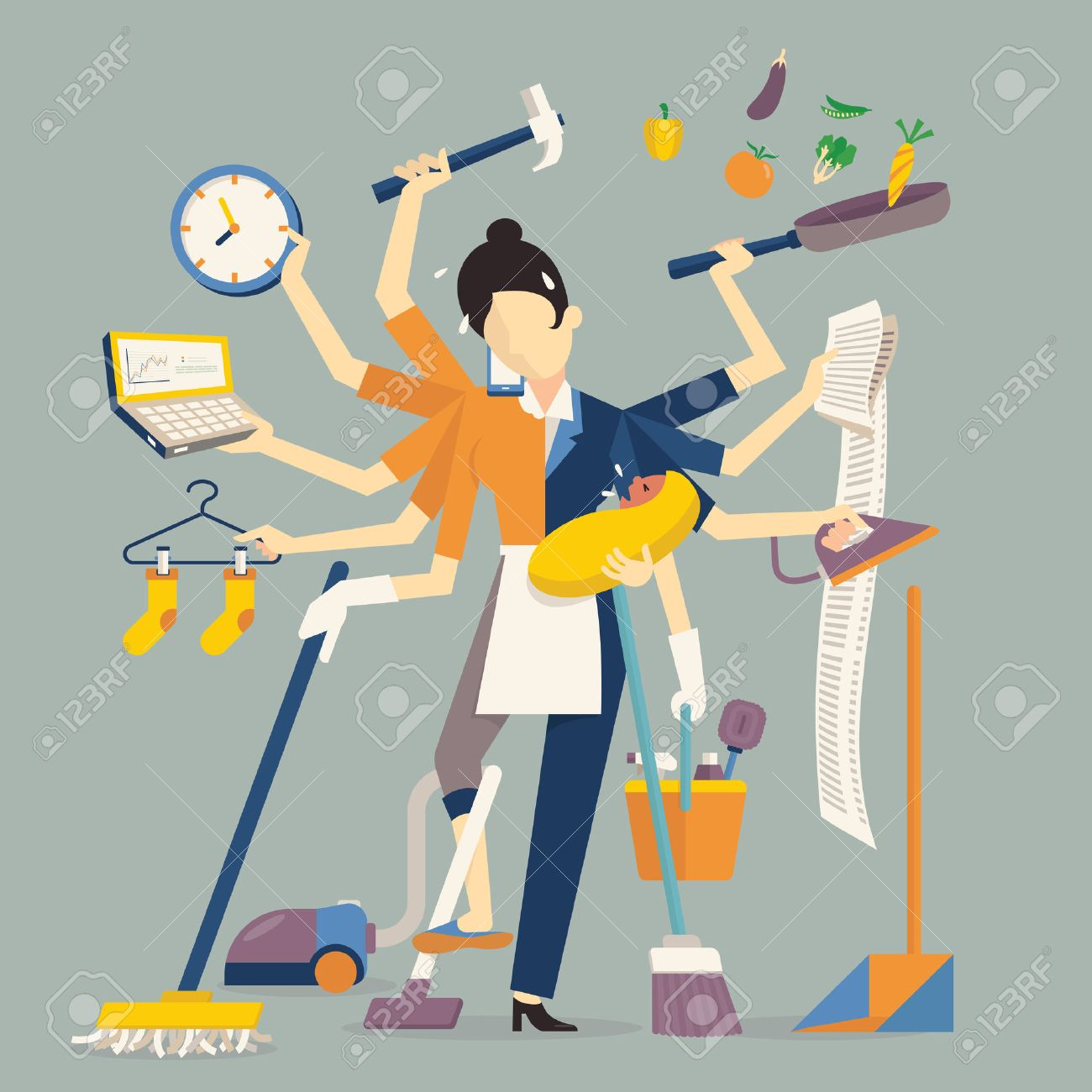 Vector illustration in super mom concept, many hands working with very busy business and housework part, feeding baby, cleaning house, cooking, doing washing, working with laptop. Flat design. - 44708423