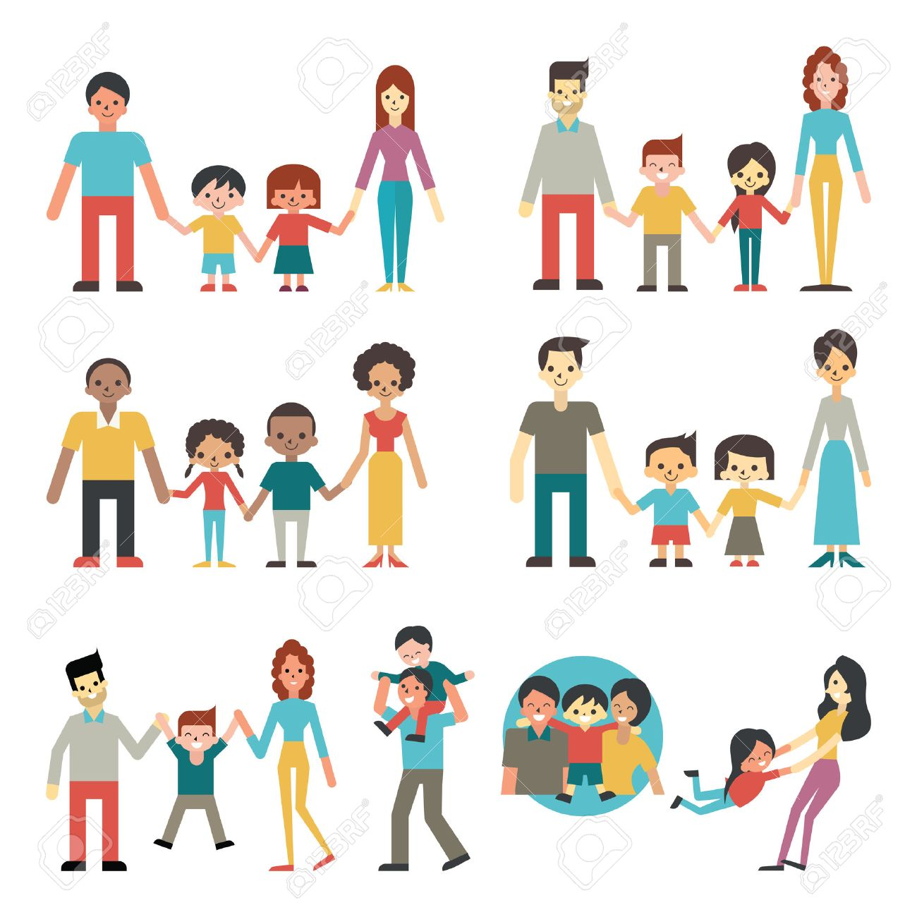 illustration character of people in happy family concept father rh 123rf com Black Family African American Clip Art Family
